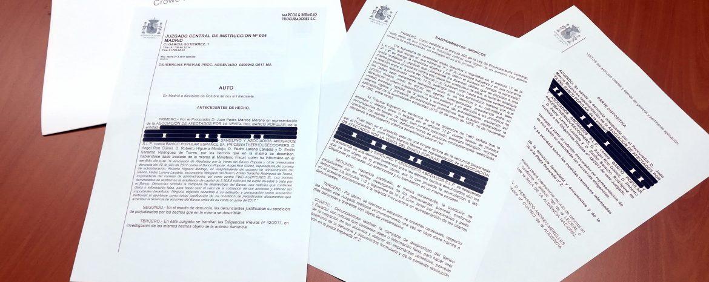 La Audiencia Nacional admite a trámite la denuncia de Sanguino Abogados por la venta del Banco Popular
