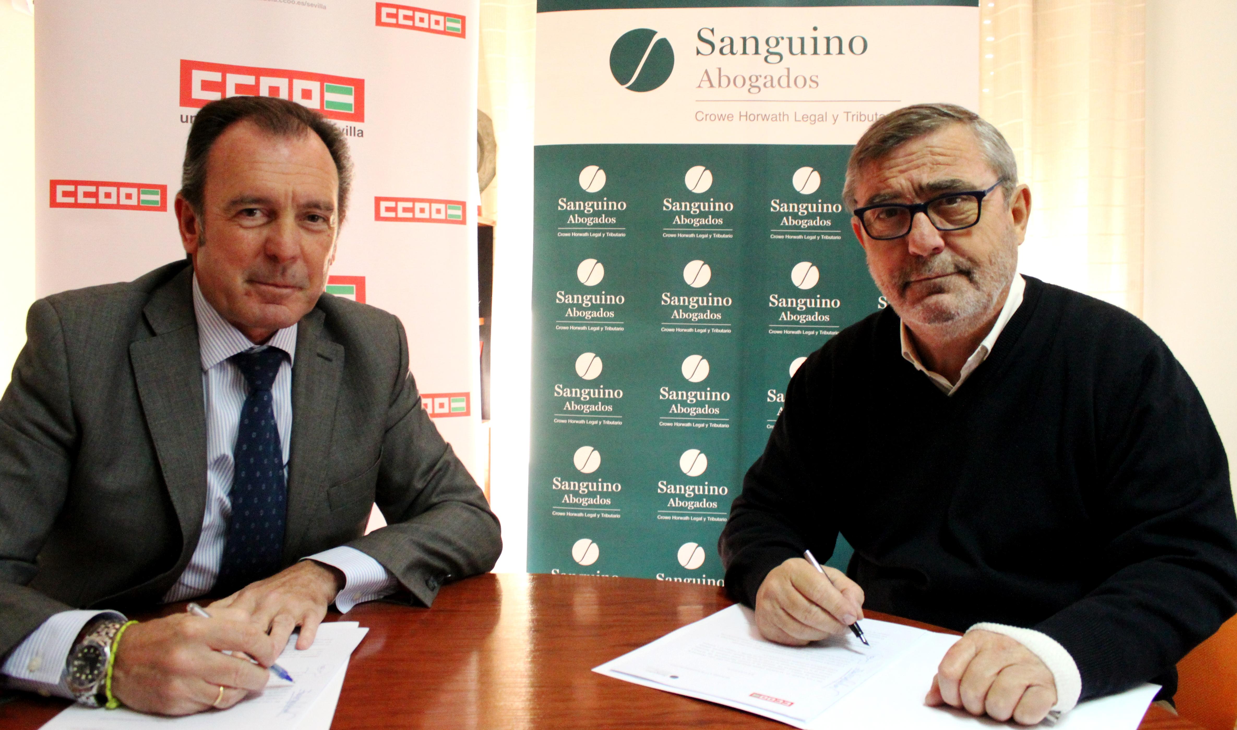 Sanguino Abogados y CCOO Sevilla firman un convenio de asesoramiento jurídico integral