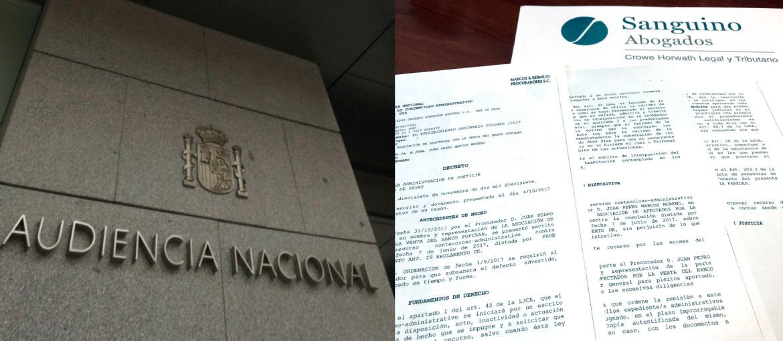 Nuevo paso de Sanguino Abogados ante la Audiencia Nacional en defensa de los afectados por la venta del Banco Popular