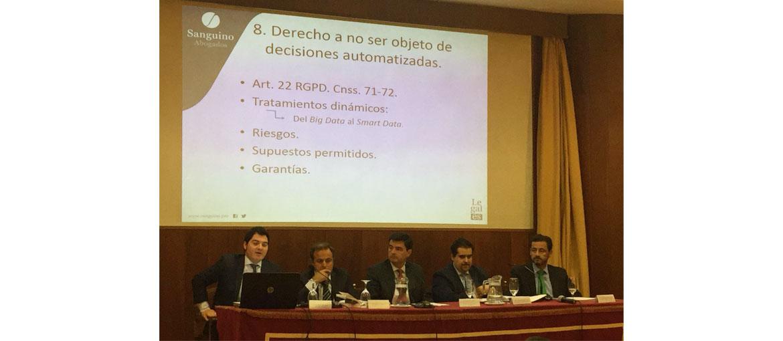 """Sanguino Abogados analiza los derechos de los ciudadanos en la Jornada """"Nuevo Reglamento  General de Protección de Datos"""""""