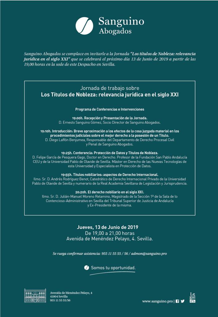 Sanguino Abogados organiza unas Jornadas sobre las repercusiones jurídicas de los títulos de nobleza
